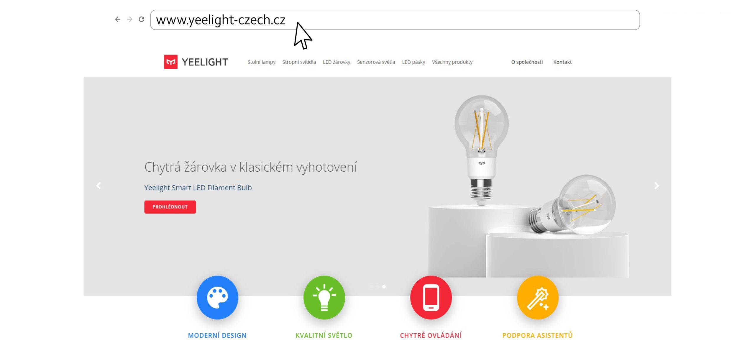 Náhled českého webu značky Yeelight